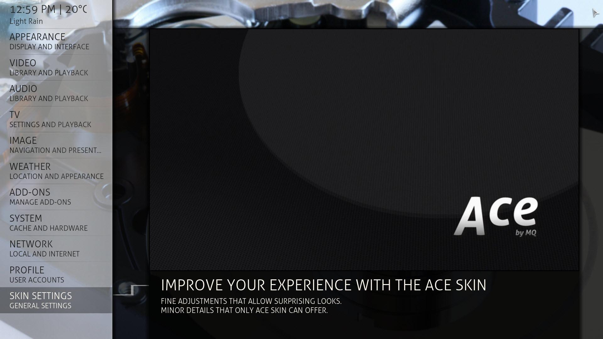 Kodi/XBMC skin: Ace by MarcosQui