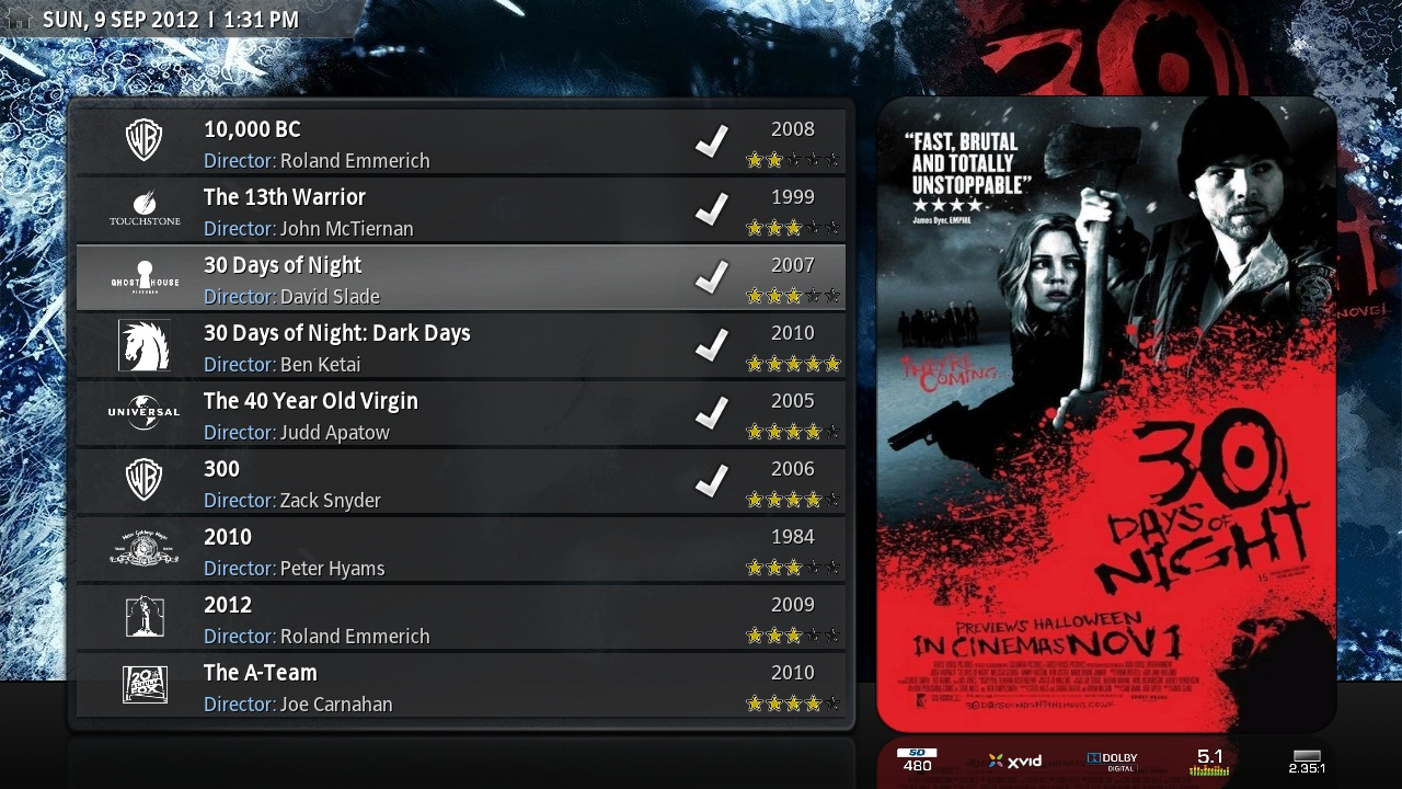 Kodi/XBMC skin: Back Row by Sharpe